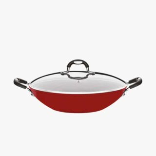 Red 32 cm Wok Pot with Glass Lid Monaco Silicone Handle and Knob Non Stick 5000 Washing Cycles 3 mm Thickness