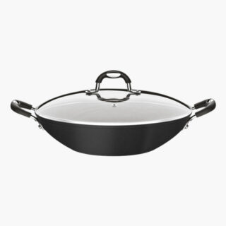Black 32 cm Wok Pot with Glass Lid Monaco Silicone Handle and Knob Non Stick 5000 Washing Cycles 3 mm Thickness