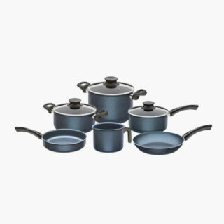 Blue 9 Pcs Cookware Set Non Stick with 26 cm Deep Stock Pot Included!!