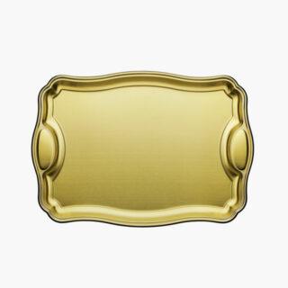 Rectangular Tray Golden 42 cm with Handle Made of Stainless Steel Matt Finishing