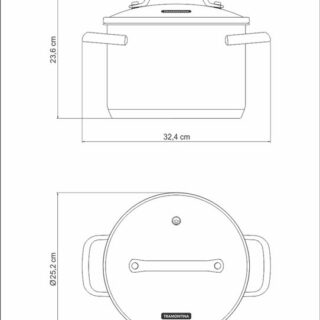 24 cm and 7.7 l Stock Pot Stainless Steel  with Triple Bottom , Glass Lid and Induction Ready!