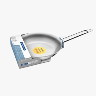30 cm Frying Pan Professional  2.9 L shallow stainless steel frying pan with long handle and tri-ply base
