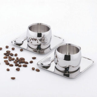 Coffee Set with 6 pcs Being 2  Expresso Cup Sets  Made of Shinny  Stainless Steel with Double Wall Body
