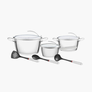 9 pcs Pcs Stainless Steel Cookware Set 3 utilities included and unique Lay on Pot Lid System!