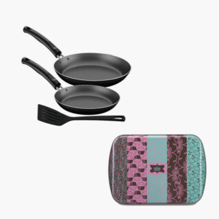 4 pcs Set with a 40 cm Roasting Pan  and Spatula , a Frying Pan Set 20 and 24 cm  all Made of Aluminium Non Stick 5,000 Washing Cycles