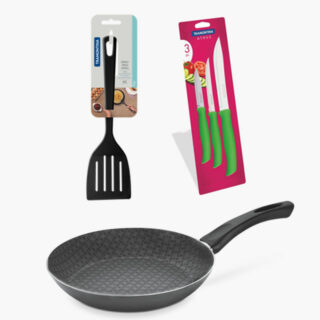 5 pcs Set with a 20 cm  Frying Pan Non Stick 5,000 Washing Cycles , a Spatula  and 3 Knives Set