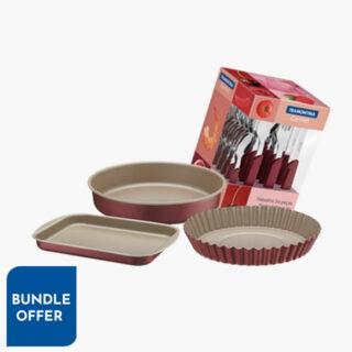 27 pcs Set with 3 pcs Roasting Pans Set Brasil + 24 Pc Tableware Set Carmel