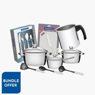 29 Pcs Special Set - Cookware Set +  Flatware Set + Milk Boiler + Knives Set