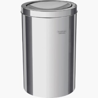 20 liters stainless steel swing bin with a polished finish
