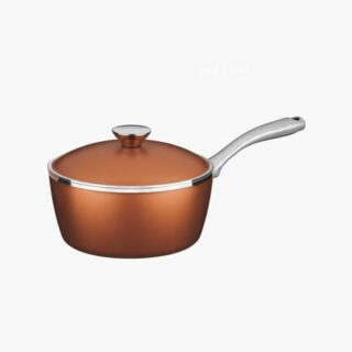 Lyon Saucepan 20 cm and 2.8 liters -  Forged Aluminum 8 mm Walls Golden  with Interior Starflon T5 Non-Stick Coating and Lid