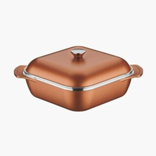 Lyon Casserole Square 28 cm and 5.5 liters -  Forged Aluminum 8 mm Walls Golden  with Interior Starflon T5 Non-Stick Coating and Lid