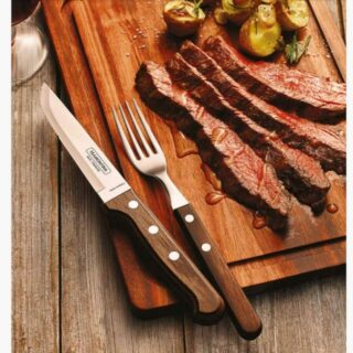Churrasco Line  4 pcs Set 4 Jumbo Stainless Steel Knives  with Brown Polywood Handle