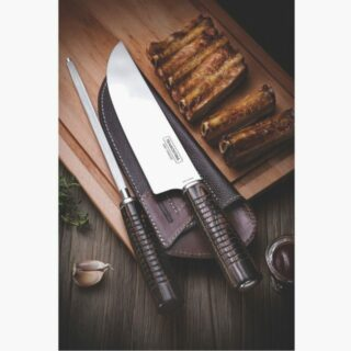 Steak Line  2 pcs Set   8 inches Forged Knife with Leather Cover, 8 inches Sharpener  and Wooden Box