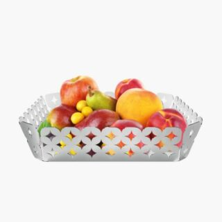 Square Basket  22 x 22 cm Fully Made in Stainless Steel  with Hollowed Out Design