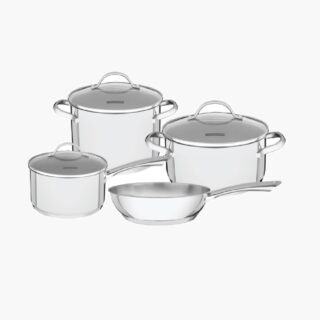 7 pcs  Cookware Set -  Stainless Steel and Induction Ready ! Straight Body Design Triple Bottom, Glass Lids and Mirror Finish