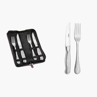 Steak Line 4 pcs Set 2 Stainless Steel Jumbo 5 inches  Knives and 2 Jumbo Forks with Ergonomic and Exclusive Engraving on the Handle