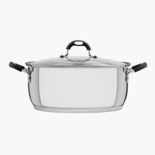 30 cm Casserole Stainless Steel Triple Bottom  8.9 liters Glass Lid 15 cm Height Induction Ready!