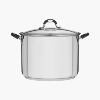 Stock Pot 30 cm 15.4 liters Stainless Steel with Flat Lid Triple Bottom with Glass Lid and Induction Ready