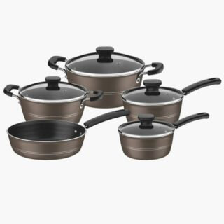 9 pcs Olive Cookware Set  Non-Stick Modern Design 3 mm Thickness 5 Coating Layers Sicilia
