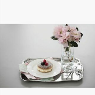 Rectangular Tray 34 cm with Handle Made of Stainless Steel Mirror Polish