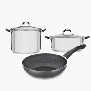 Summer Offer! Large Pots Set Stainless Steel Triple Bottom with a 30 cm Stock Pot  , 30 cm Casserole and a 28 cm Deep Frying Pan