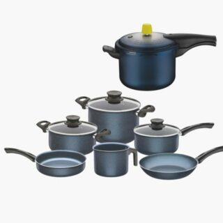 10 pcs Cookware Set , including a 4,5 liters Pressure Cooker and 9 pcs Cookware Set both Non Stick with 26 cm Deep Stock Pot Included!