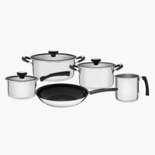8 pcs Cookware Set Stainless Steel with Triple Bottom including 14 cm Multi Purpose Boiler and  26 cm Frying Pan with Non Stick Coating
