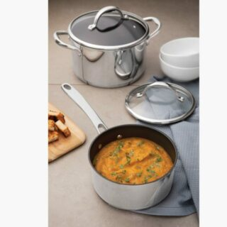 7 pcs Cookware Set Stainless Steel All Pots with Non Stick Coating 15,000 Washing Cycles and Triple Bottom