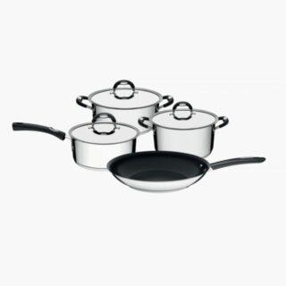 7 pcs Cookware Set Stainless Steel with Triple Bottom including a  26 cm Frying Pan with Non Stick Coating