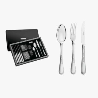 24 Pcs Set Renascença stainless steel flatware set with table knives, mirror and matte finish and relief detailing on the handle