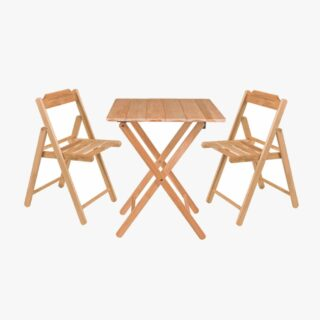 Beer Set 3 Pcs in Teak wood 1 Table and 2 Chairs