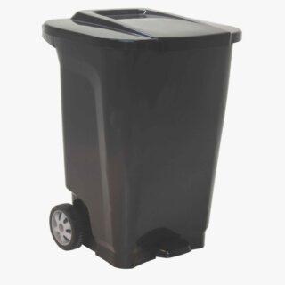 100L Trash Can With WheelsT-Force black polypropylene