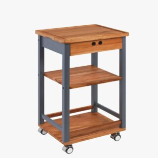 Compact Serving Cart with Wood + Drawer - Churrasco