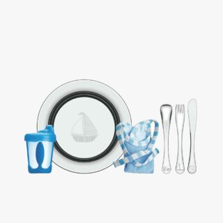 Le Petit blue stainless steel children's meal set, 6 pc set