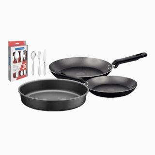 6 Pcs Flatware Set +26cm Black Round Roasting Pan+2 pcs Frying Pan Set Non Stick – 22 cm and 28 cm