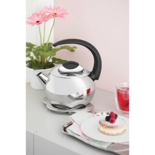 Tramontina stainless steel kettle with black handle, 18 cm and 2.2 L