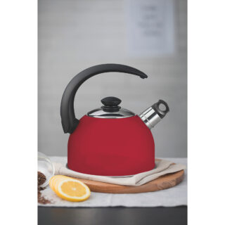 Tramontina red stainless steel whistling kettle with black handle, 2.1 L