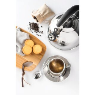 Tramontina 3.3 L stainless steel whistling kettle with tri-ply base and black handle