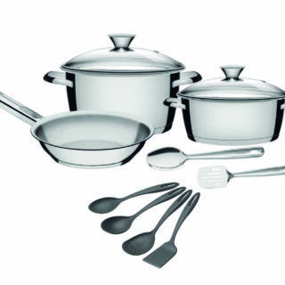 7 pcs Stainless Steel Cookware Set Allegra with 4 pcs Utensils Set Ability