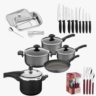 45 item !Tableware Set Carmel 24 pcs +7pcs Cookware Set Ravena+9 Pcs Knife Set +4 pcs Serving Set + Pressure Cooker