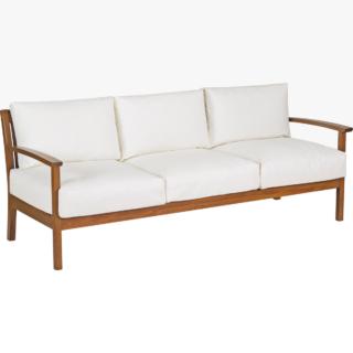 3 Seats Sofa with Arms Jatobá Wood and Acqua Block Upholstered Tramontina Fitt