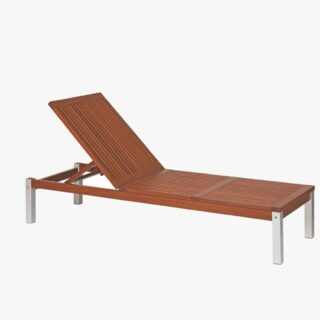 Chaise Longue for Pool with Jatobá Wood and Aluminum - Fitt