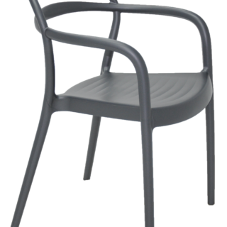 Sissi Graphite Polypropylene Chair with Hollowed-out Backrest and Arms