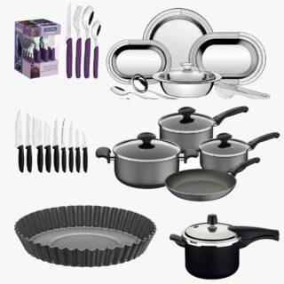 51 item !Tableware Set Carmel 24 pcs +7pcs Cookware Set Ravena+9 Pcs Knife Set +9 pcs Serving Set + Pressure Cooker+24cm Tart Mold