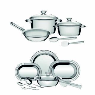 16  item !!9 pcs Stainless Steel Serving Set +7 pcs Stainless Steel Cookware Set Allegra
