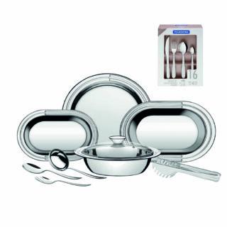 25 item !! 9 pcs Stainless Steel Serving Set +16 pcs Flatware Set