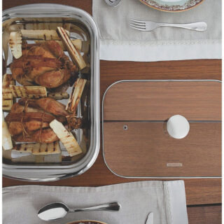 4 pcs Stainless Steel Serving Set  with Glass Lid 34 cm
